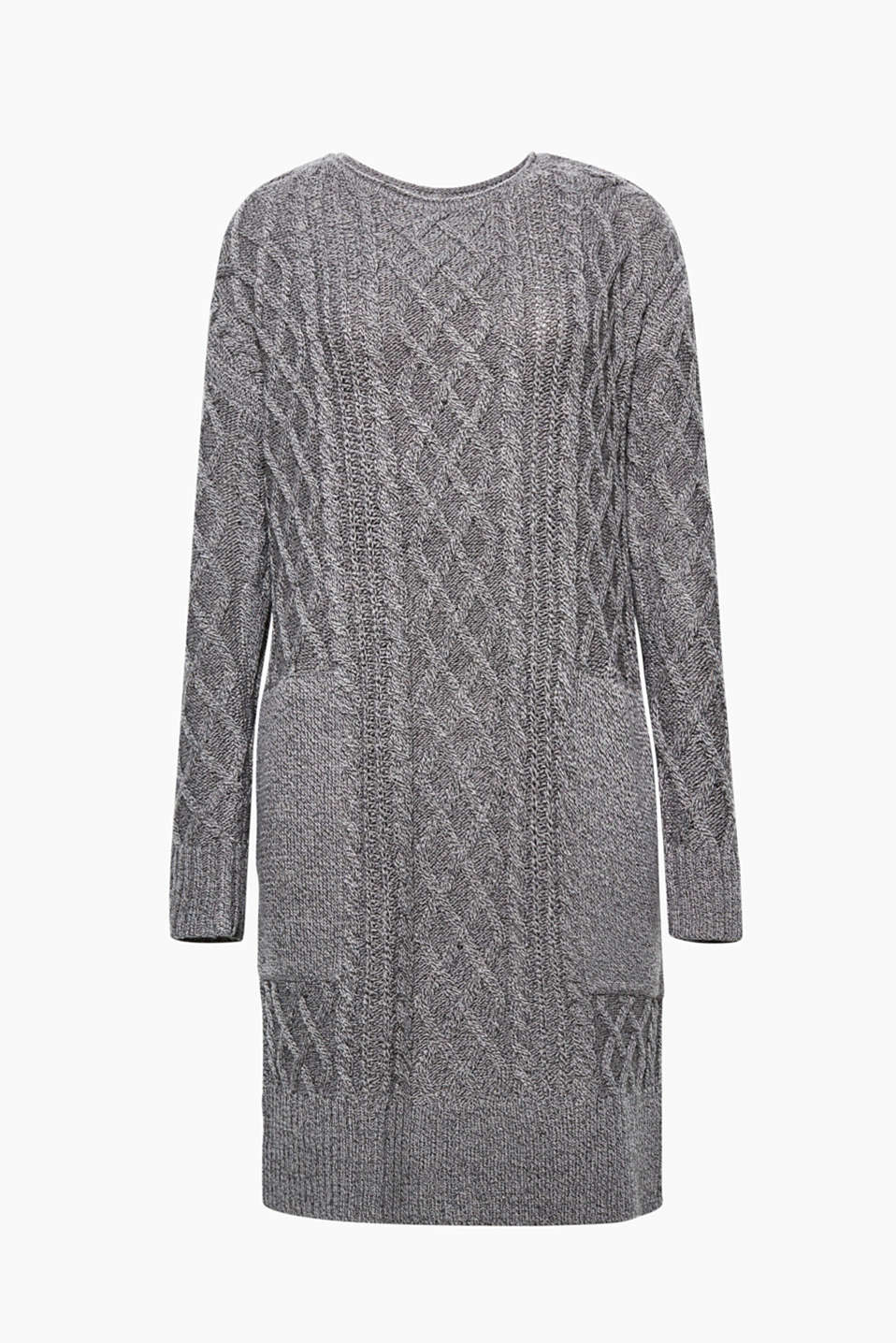 This straight cut dress embodies casual, cosy style with its cable knit pattern and comfortable slit pockets.