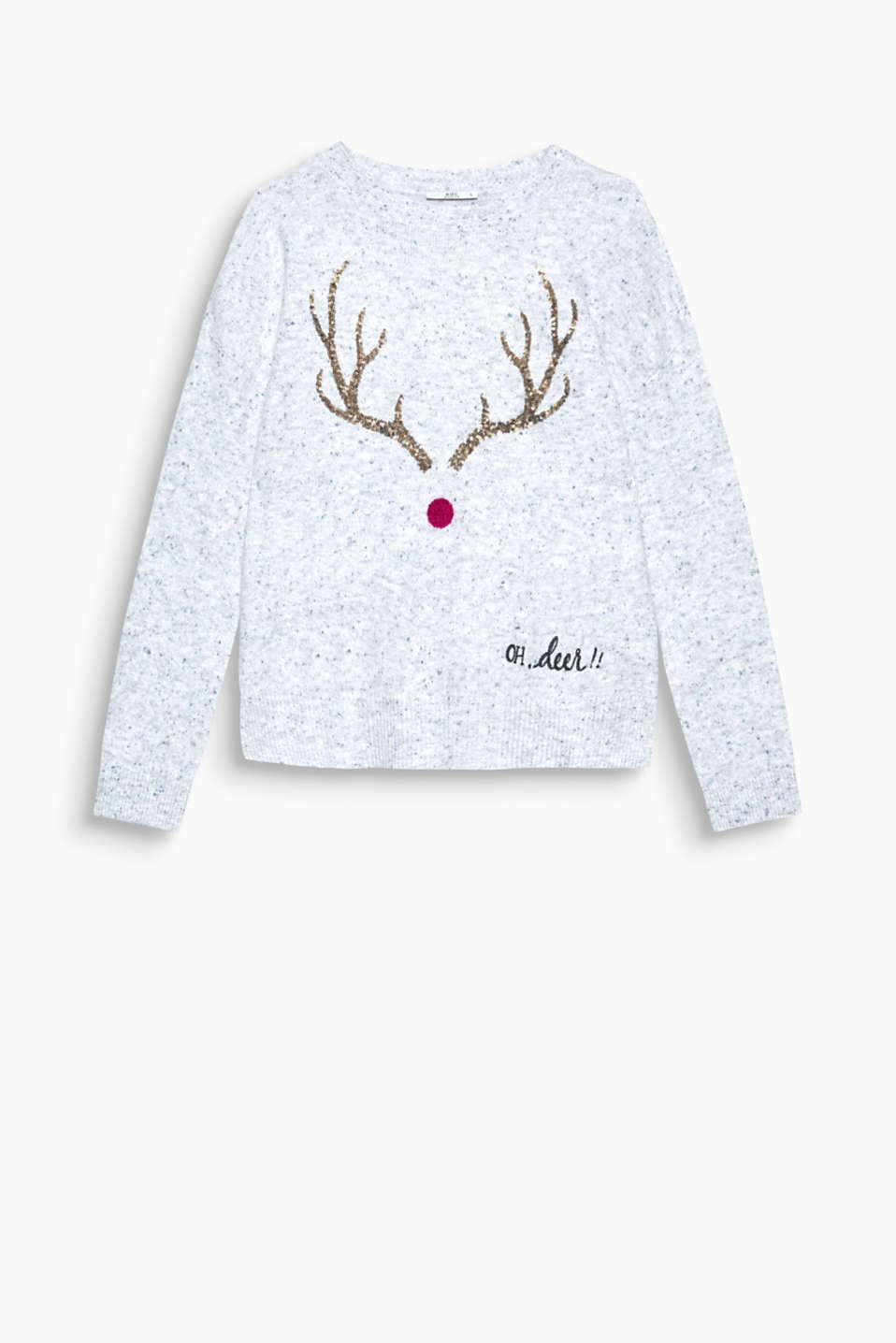 Ho Ho Ho! This cosy jumper will get you in the festive spirit with its shimmery sequin antlers.