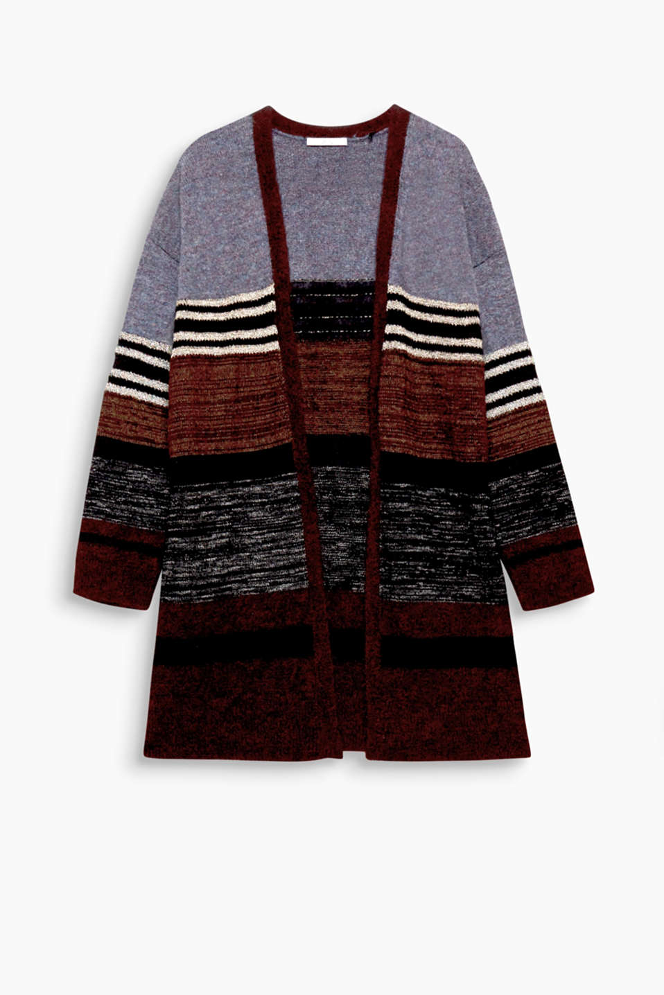 This soft, open-fronted cardigan impresses with its diverse stripes and glittering lurex.