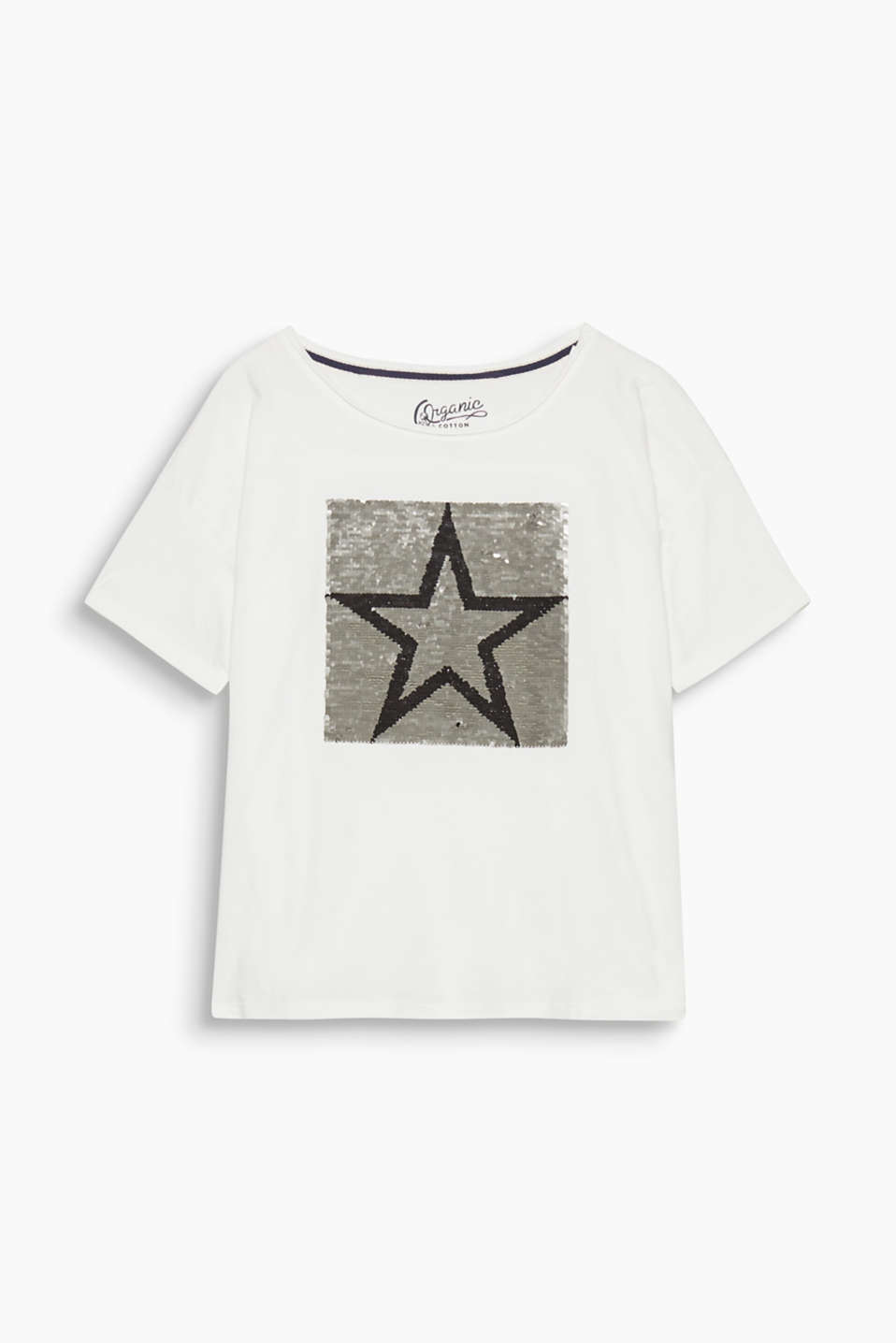 This ultra-soft t-shirt shimmers with its sequin artwork which changes its colour when the sequins are flipped over.