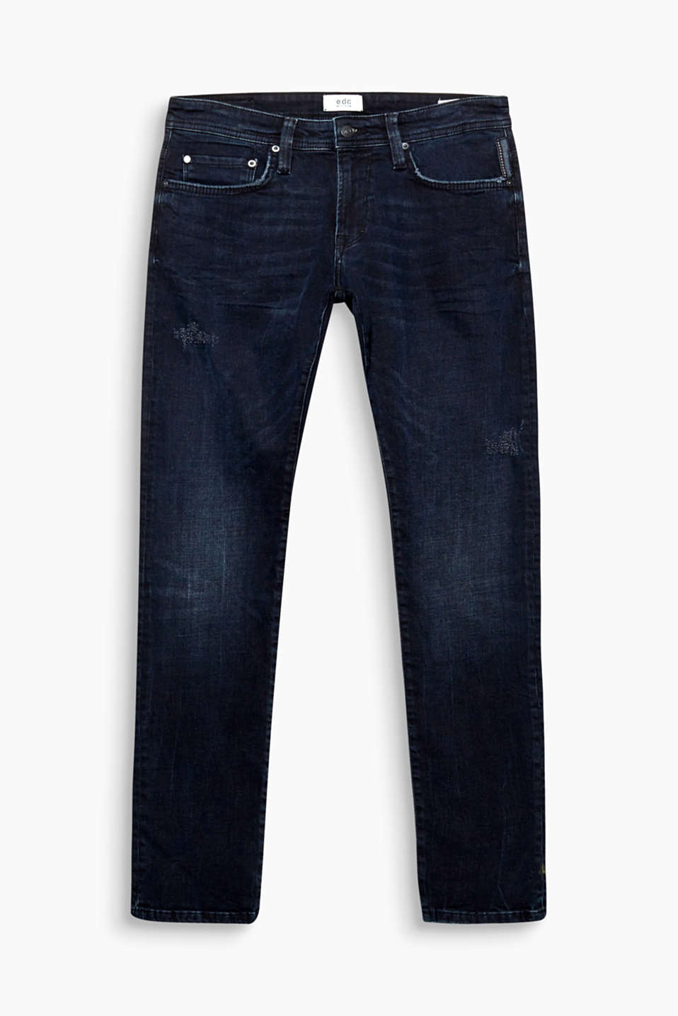 The perfect blue jeans thanks to their exciting dye: five-pocket jeans made of cotton with stretch