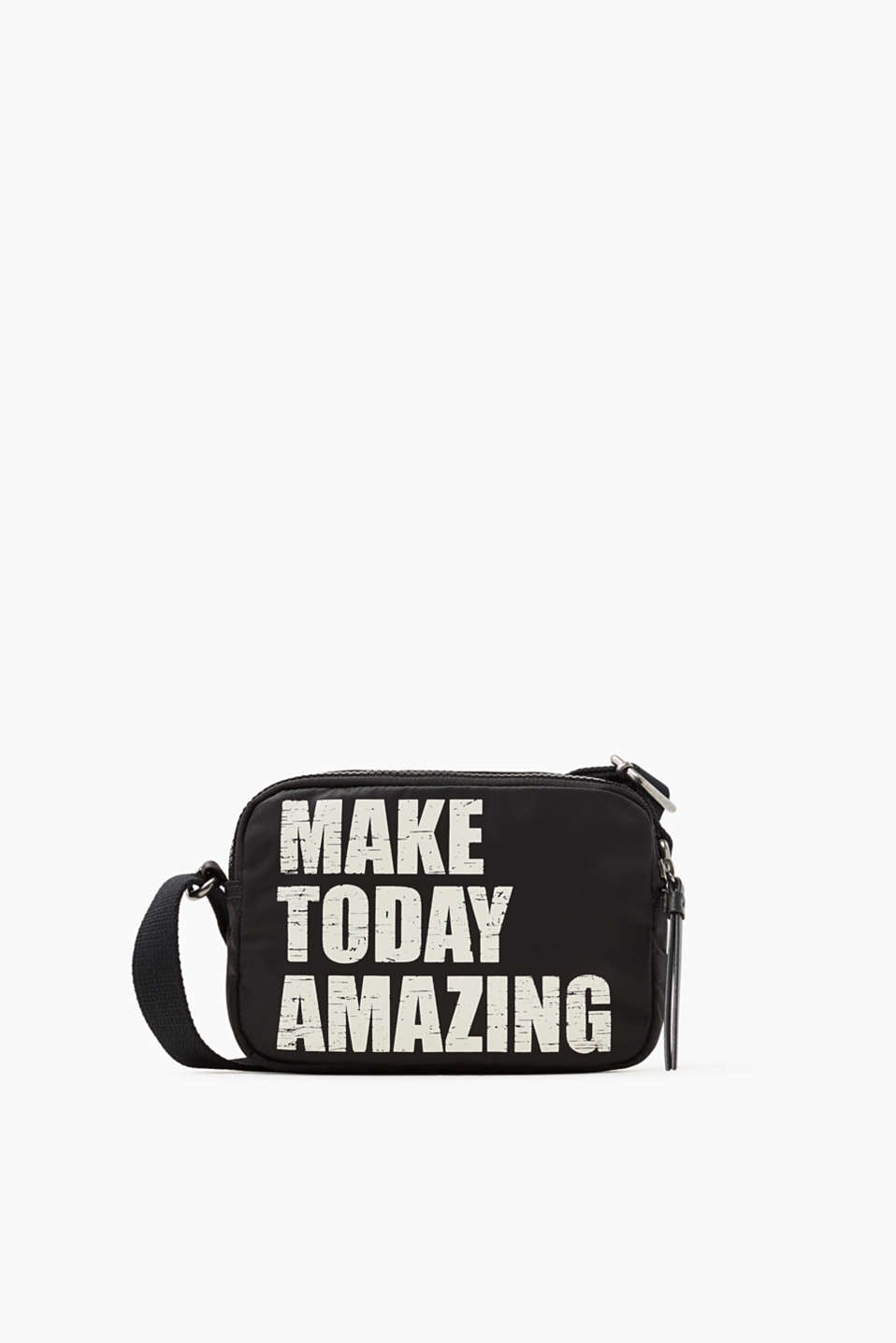 Make today amazing! This small shoulder bag impresses with its lightweight nylon and cool statement.