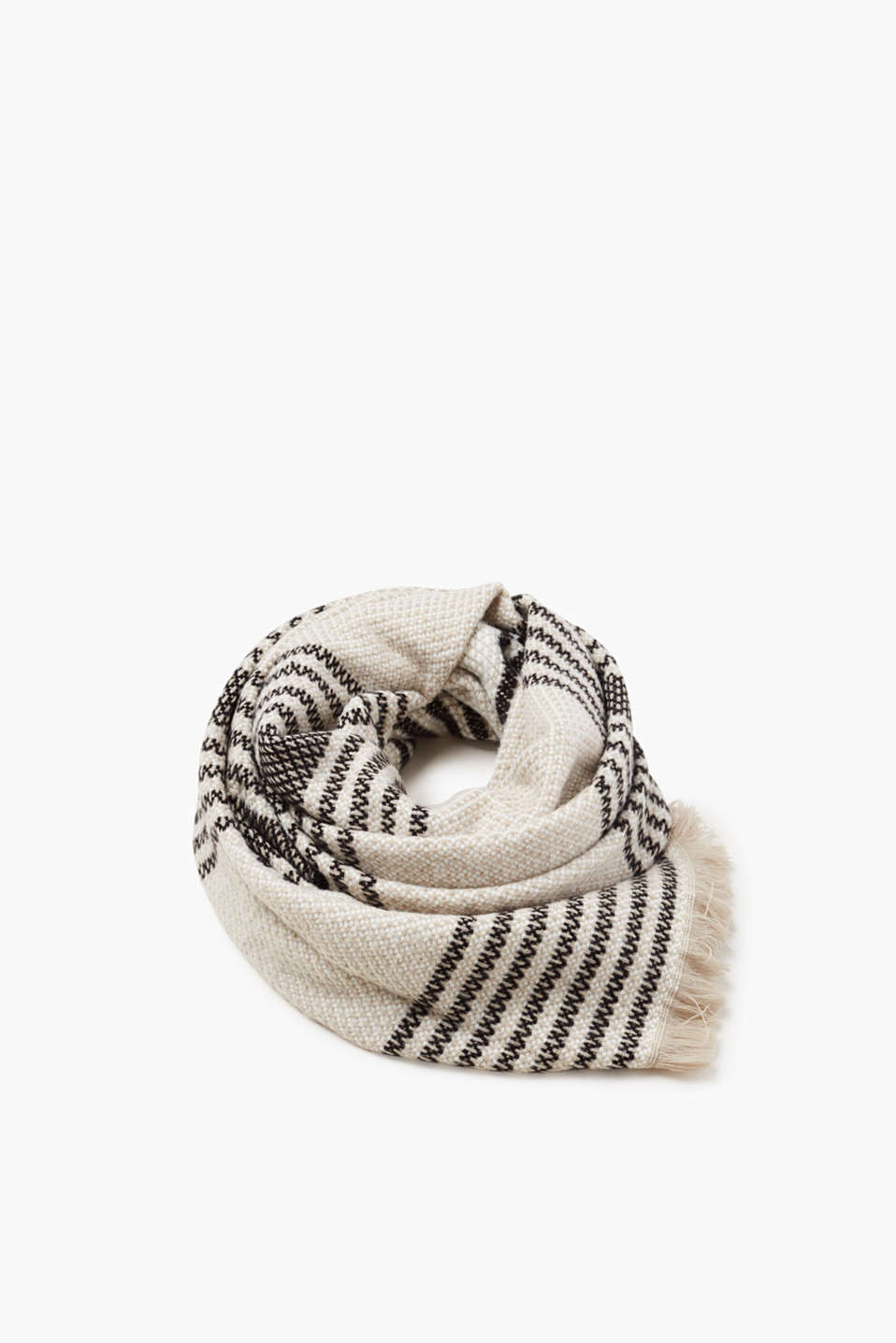 In a two-tone textured knit with stripes, this XL scarf is sure to turn heads.