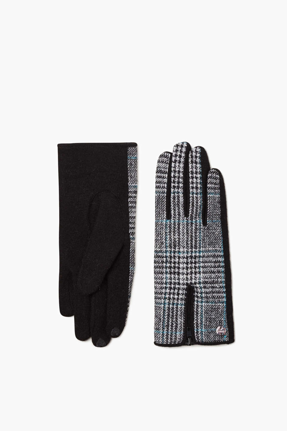 A classic, eye-catching accessory thanks to the fine Glencheck pattern: gloves in fine blended wool