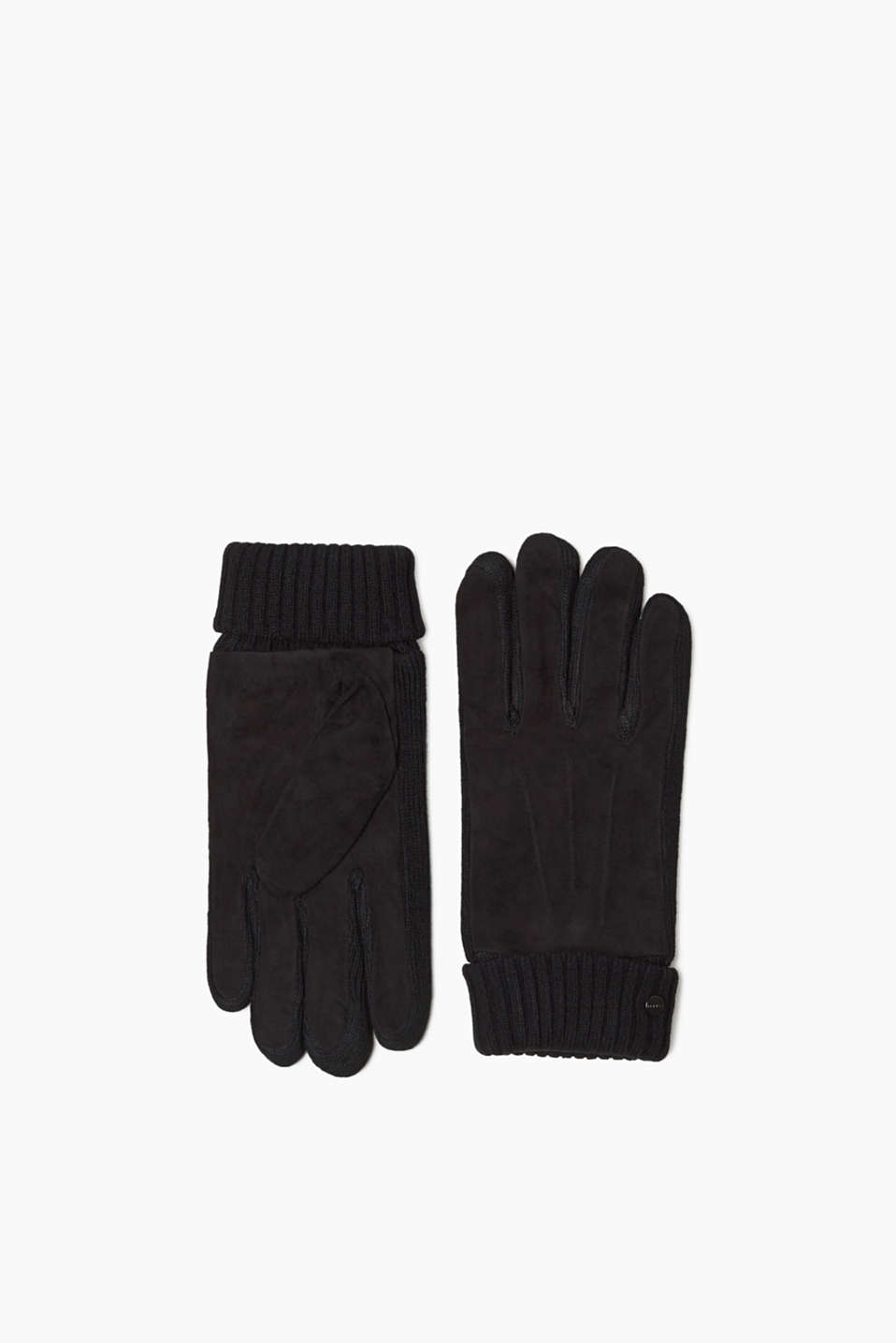 Cool material combo: these suede gloves with ribbed cuffs