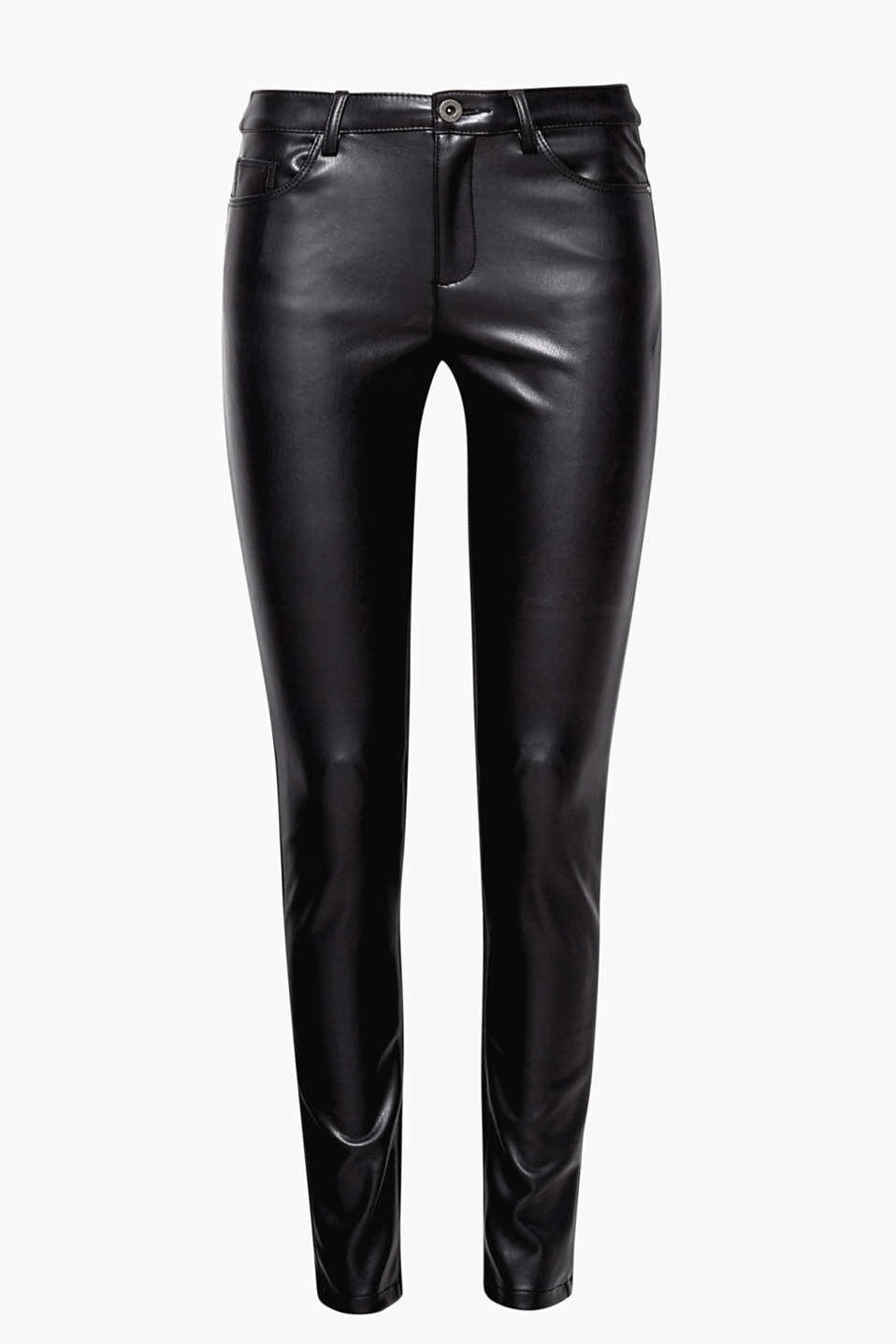 One pair, two styles: these close-fitting trousers come in faux leather at the front + flowing, comfy stretch fabric at the back.