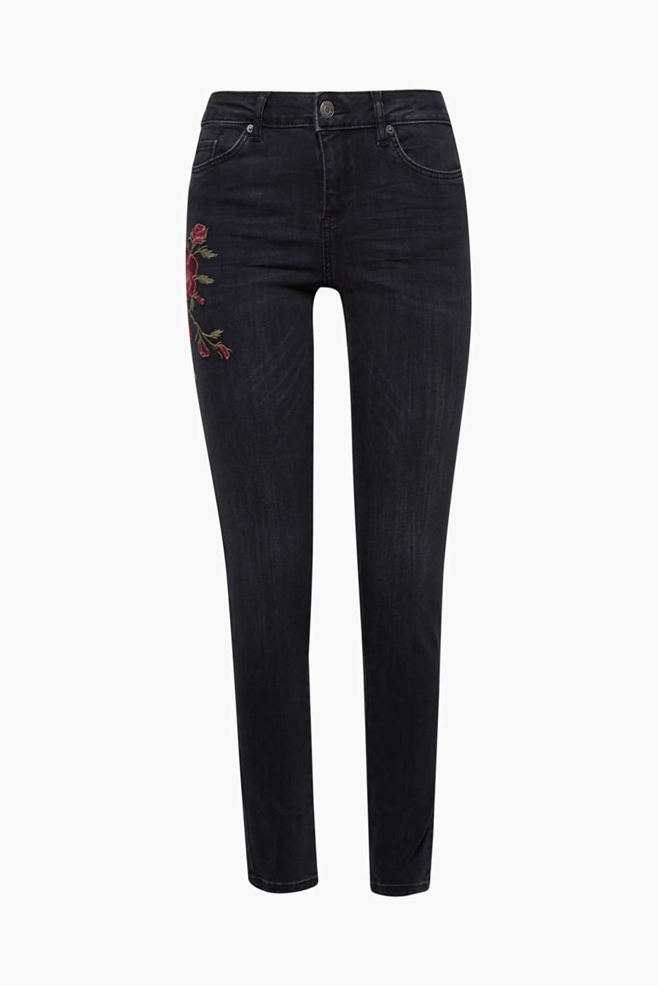 An enchanting eye-catcher: the rose embroidery on the right hip is the particular highlight of these stretch jeans!