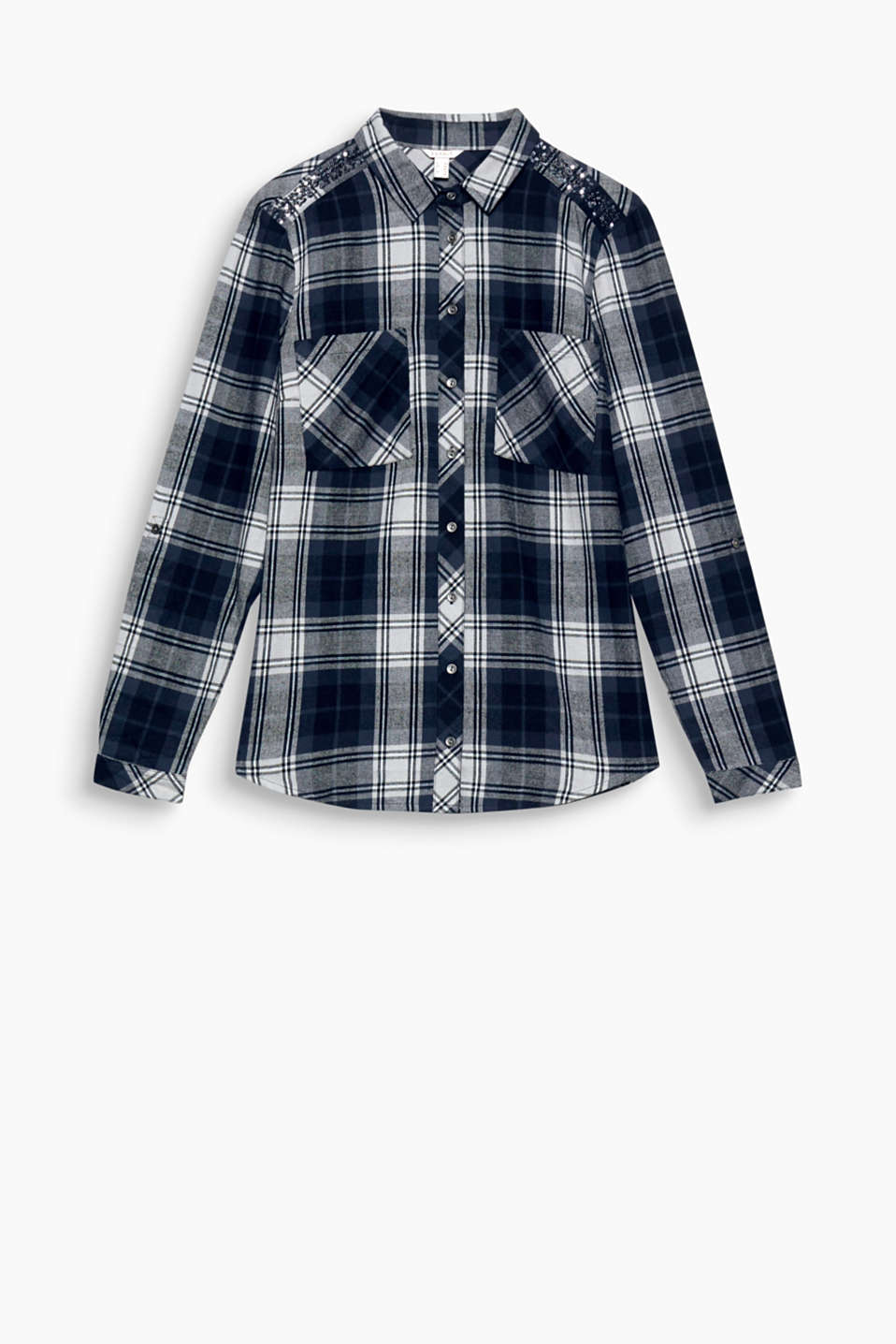 Flannel goes glamour: the sequin embellishment on the shoulders gives this soft flannel shirt lush lashings of luxury!