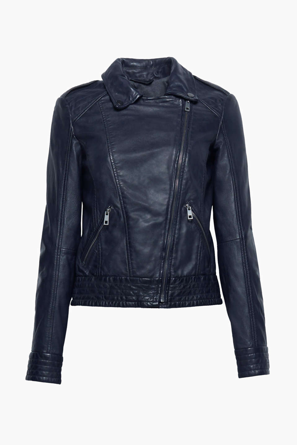 This black leather jacket in a biker style is a cool, classic, versatile basic for every modern wardrobe!