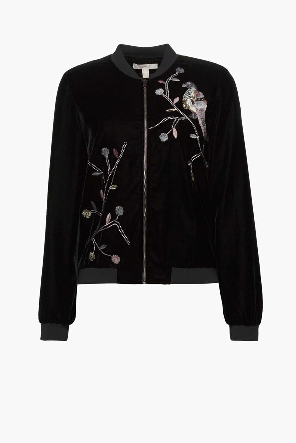 A true gem: This bomber jacket made of soft velvet with elegant sequin embroidery will give you a glamorous look!