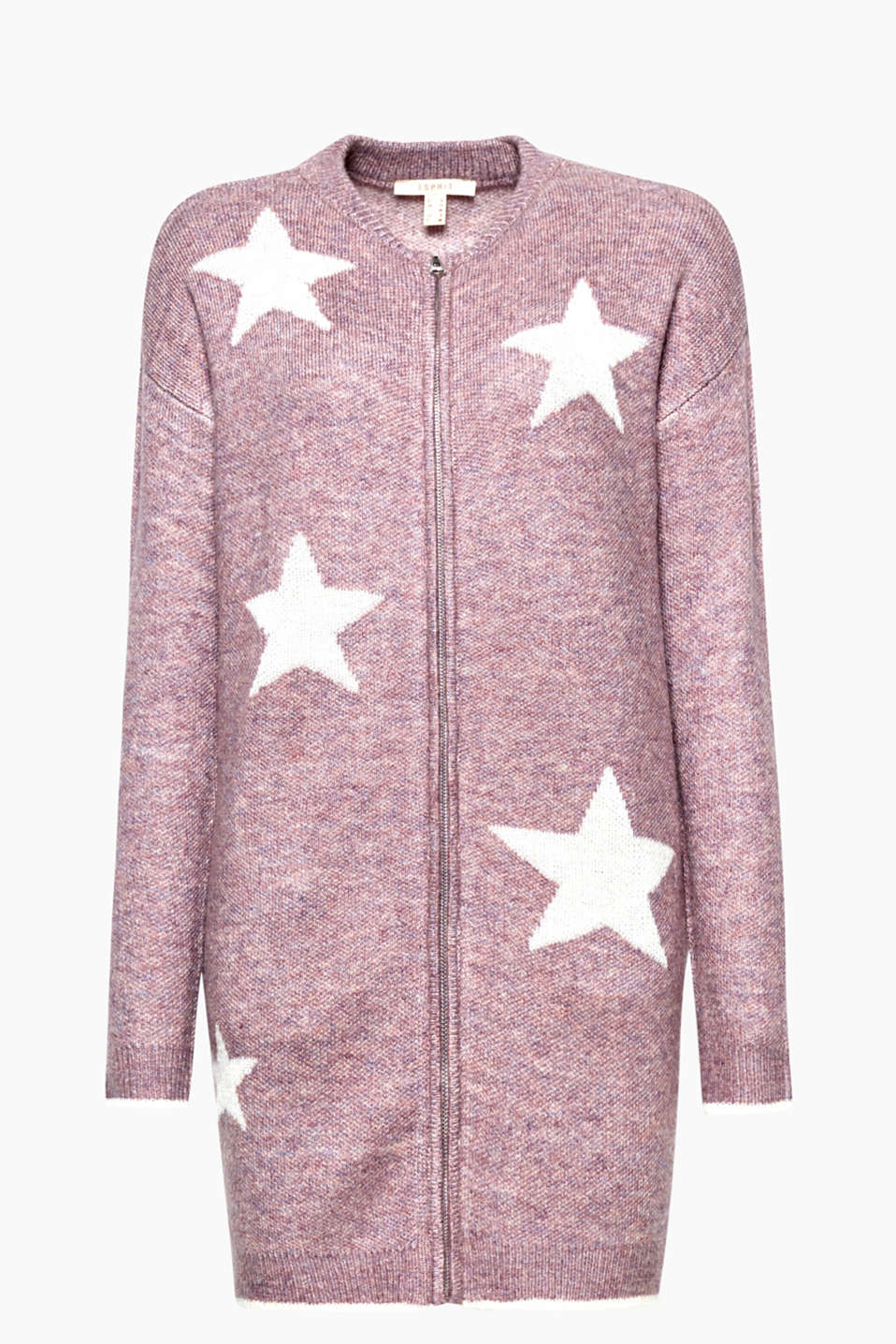 A knitwear star is born - in this long, melange cardigan with an outdoor vibe, front zip and intarsia!