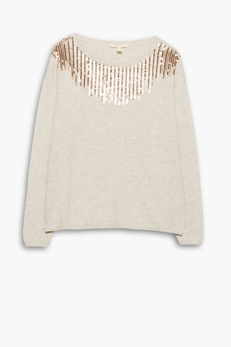 This boxy jumper in high-quality blended wool is a highlight piece thanks to the striking sparkling sequins.