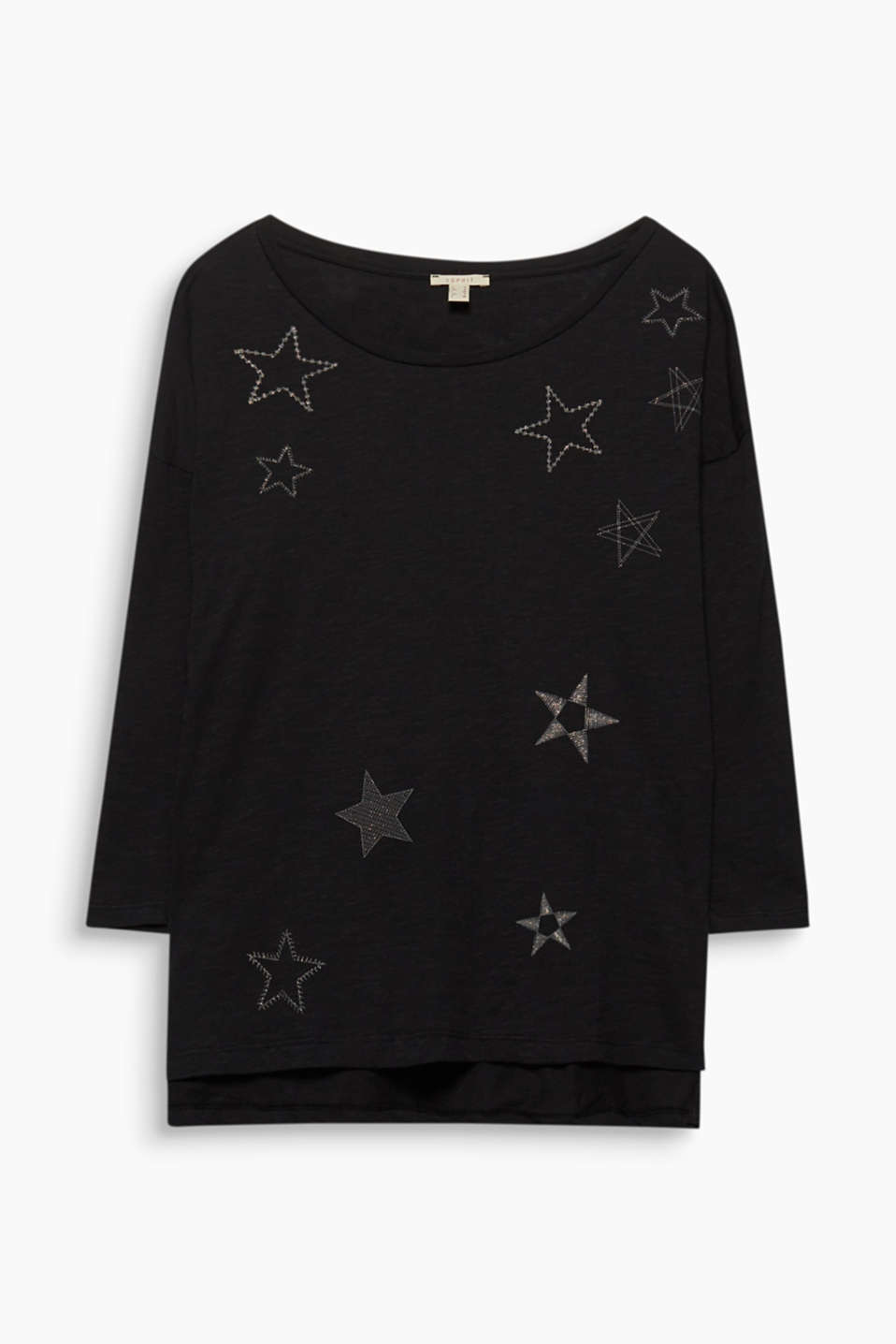 This cotton top gets its lightness from its airy slub texture and elegant- glittering star prints!