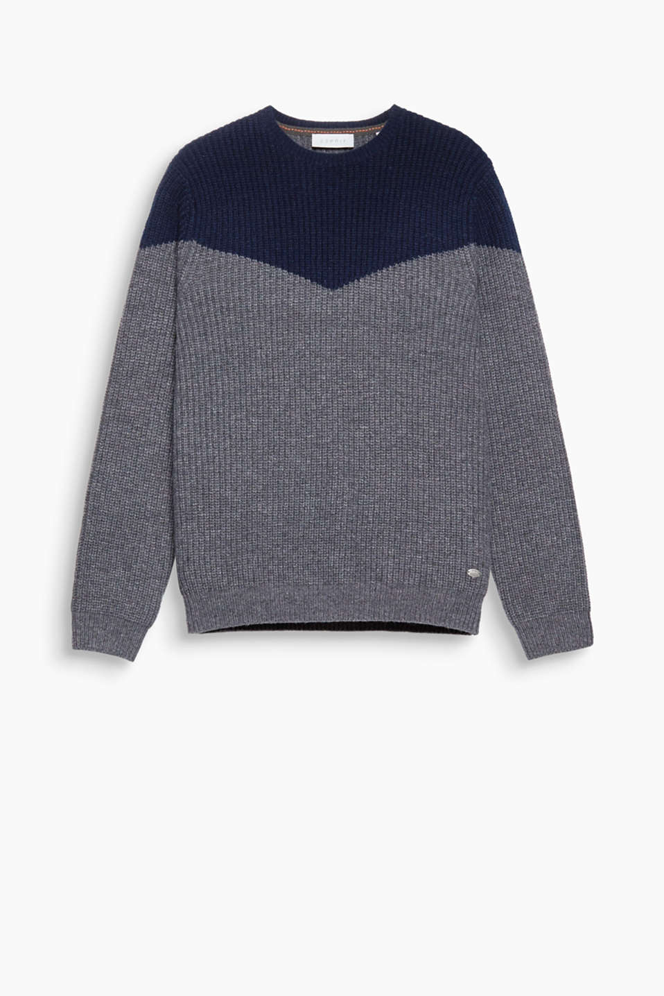 The cool colour blocking and striking rib stitch make this jumper a casual, stylish highlight. We like!