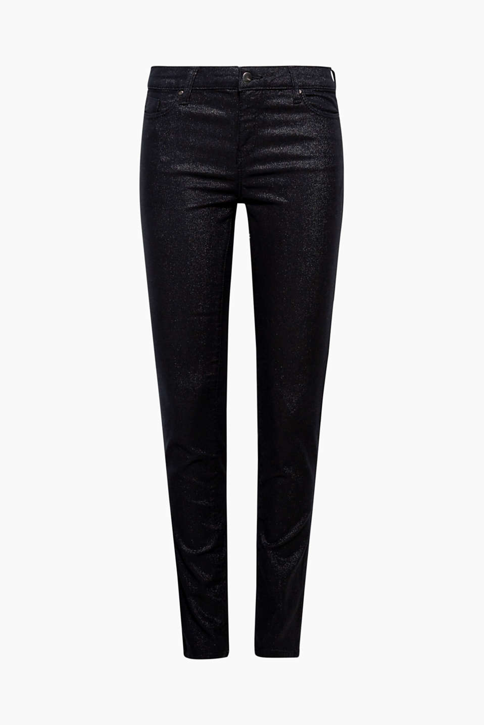 Denim can look really classy: like these skinny stretch jeans in a five pocket design with an all-over, glittery finish!