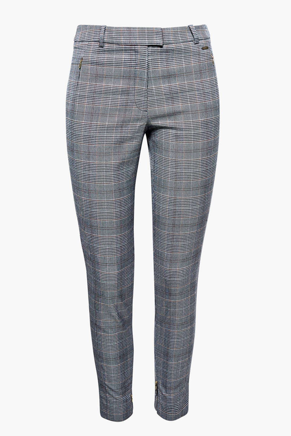 Ankle-length Prince of Wales check trousers with stretch