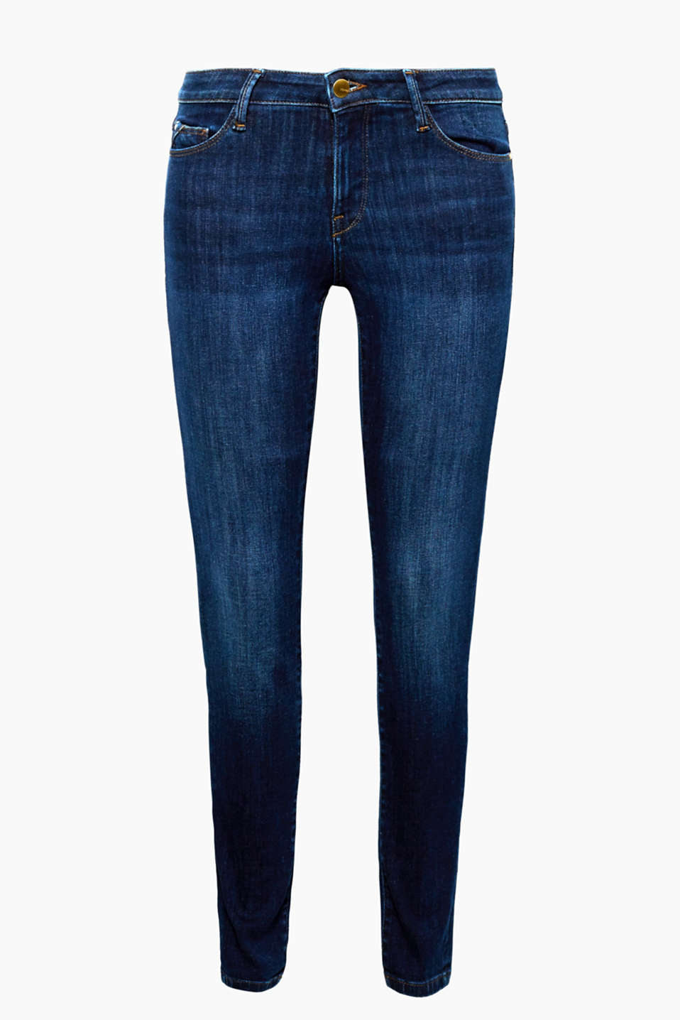 Skin-tight and yet mega comfy: these extremely stretchy, skinny jeans with gold-coloured details!