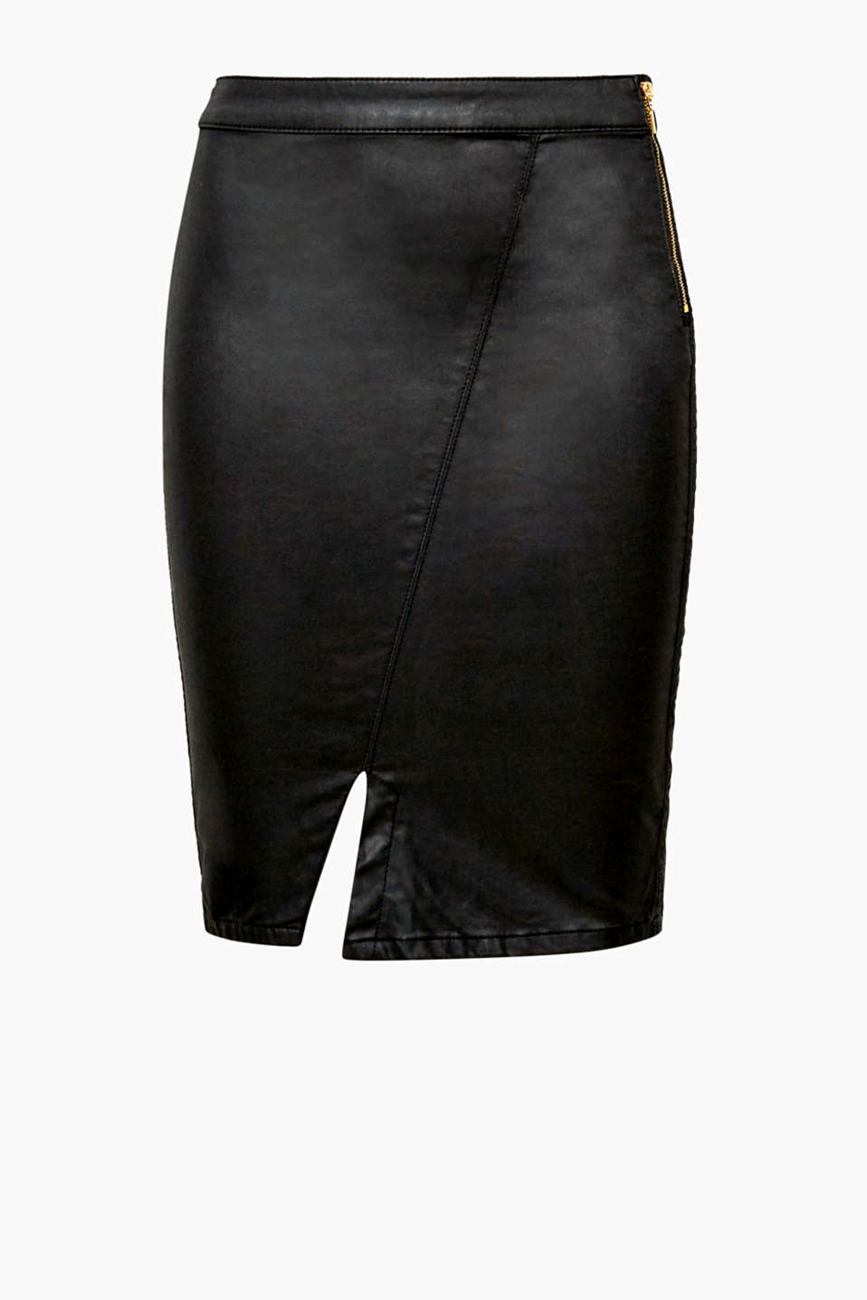 This pencil skirt in coated faux leather denim is particularly stylish because of its waistband zip and hem slit!