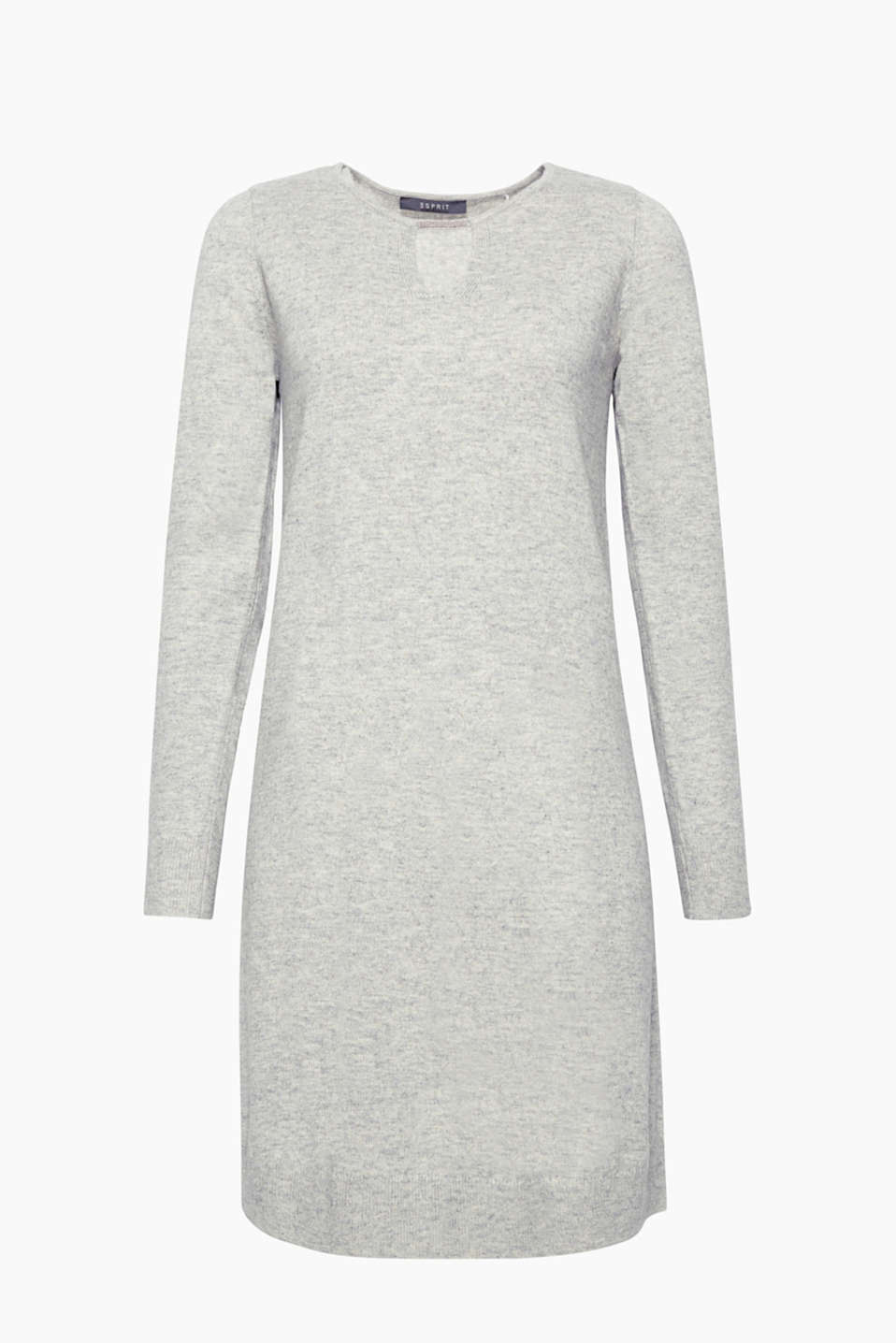 This knitted dress with elegant cashmere and bead-embellished keyhole will feel luxurious on your skin!