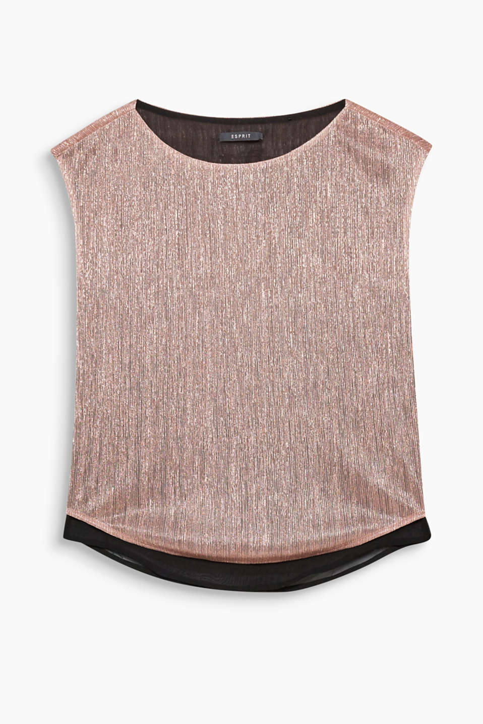 A glittering highlight! With its glittering metallic effect and flowing shape, this top exudes a party style.