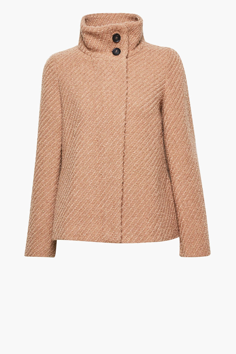 The fashionable A-line cut sets off this bouclé jacket with a diagonal texture and high stand-up collar to perfection!