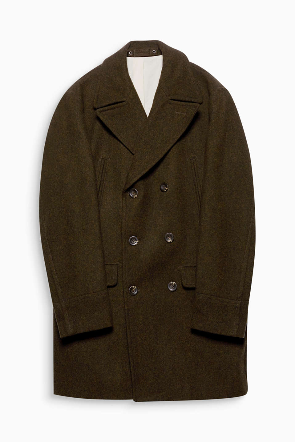 Double-breasted coats are THE autumn trend! This coat is also crafted from elegant blended wool.