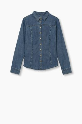 Fitted stretch denim shirt