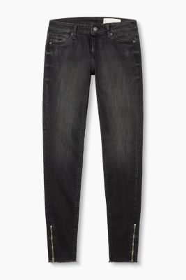 Softe Stretch-Denim mit Saum-Zippern