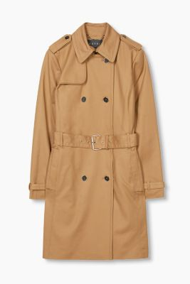 Satined trench coat with accent buttons