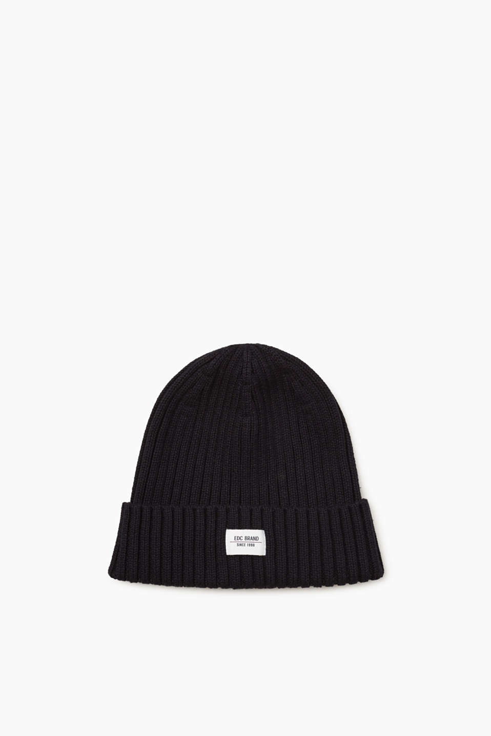 Your basic accessory for the winter: sporty ribbed cotton beanie with a turn-up and a logo label.