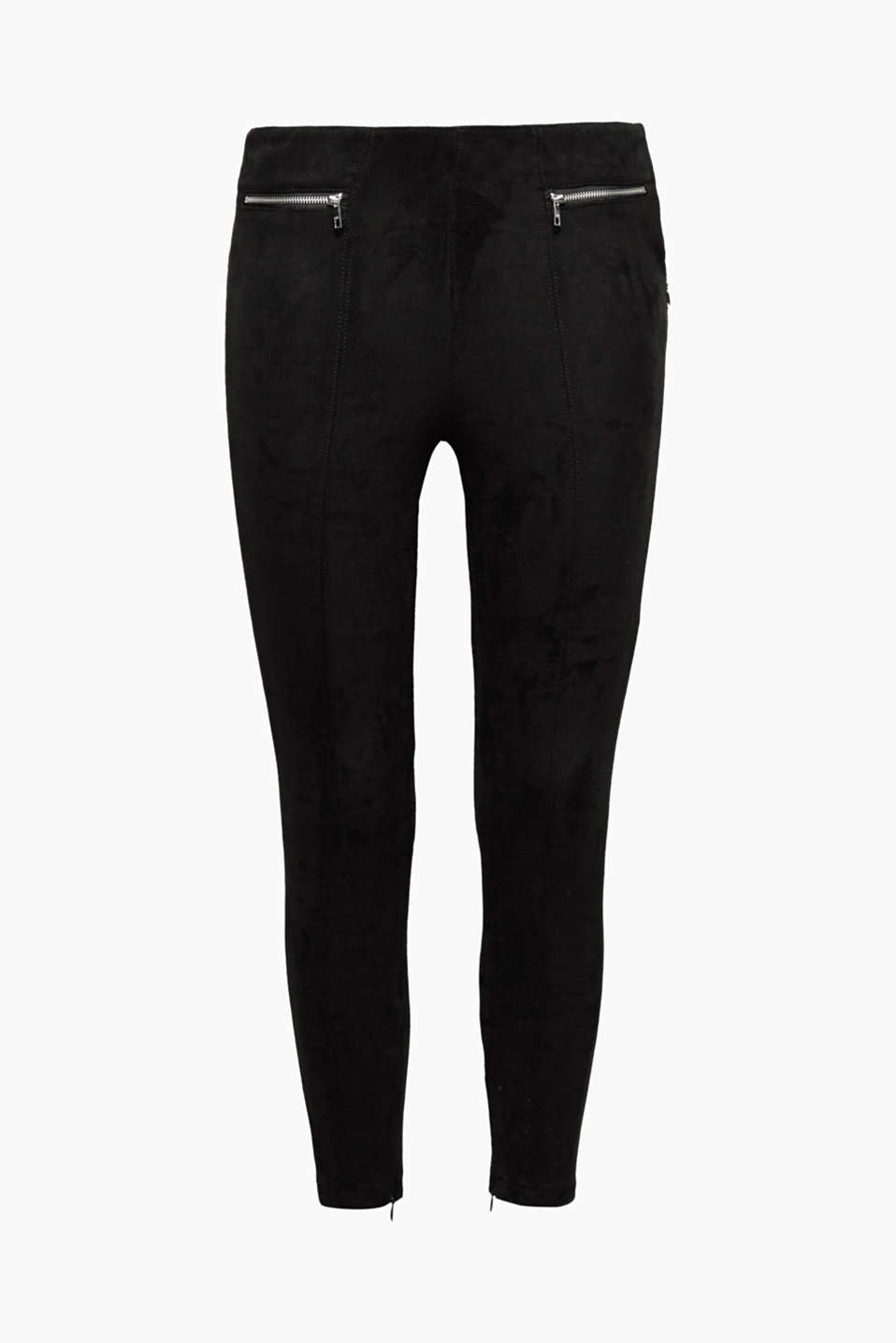 The velvety material of these treggings with cool front zips highlights the sexy, figure-skimming cut perfectly!