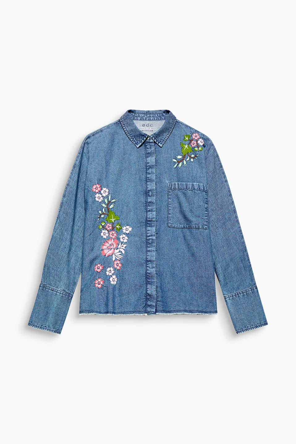 This boxy cut denim blouse with a florally embroidered front section oozes a feminine coolness, in 100% cotton