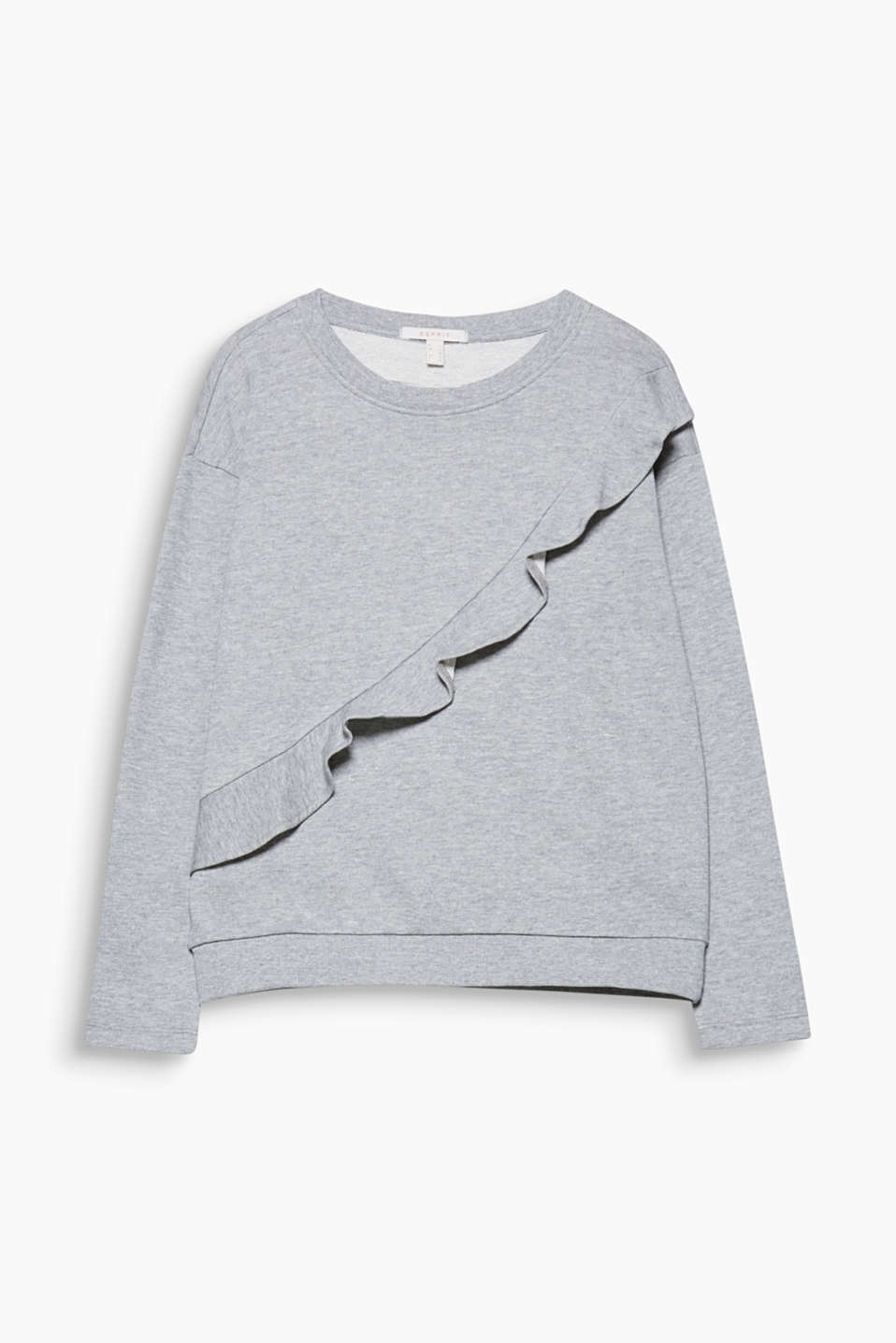 Comfort meets romantic frills and modern melange on this lightweight, blended cotton sweatshirt!
