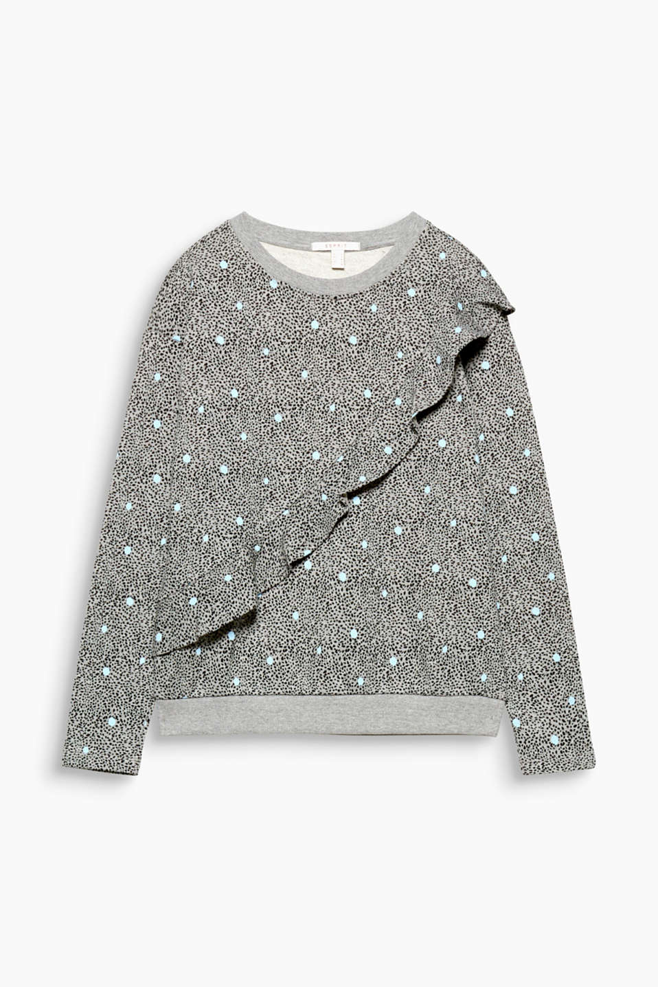 The must-have of the season: a sweatshirt in a trendy design. This one has an all-over print and flounce trim.
