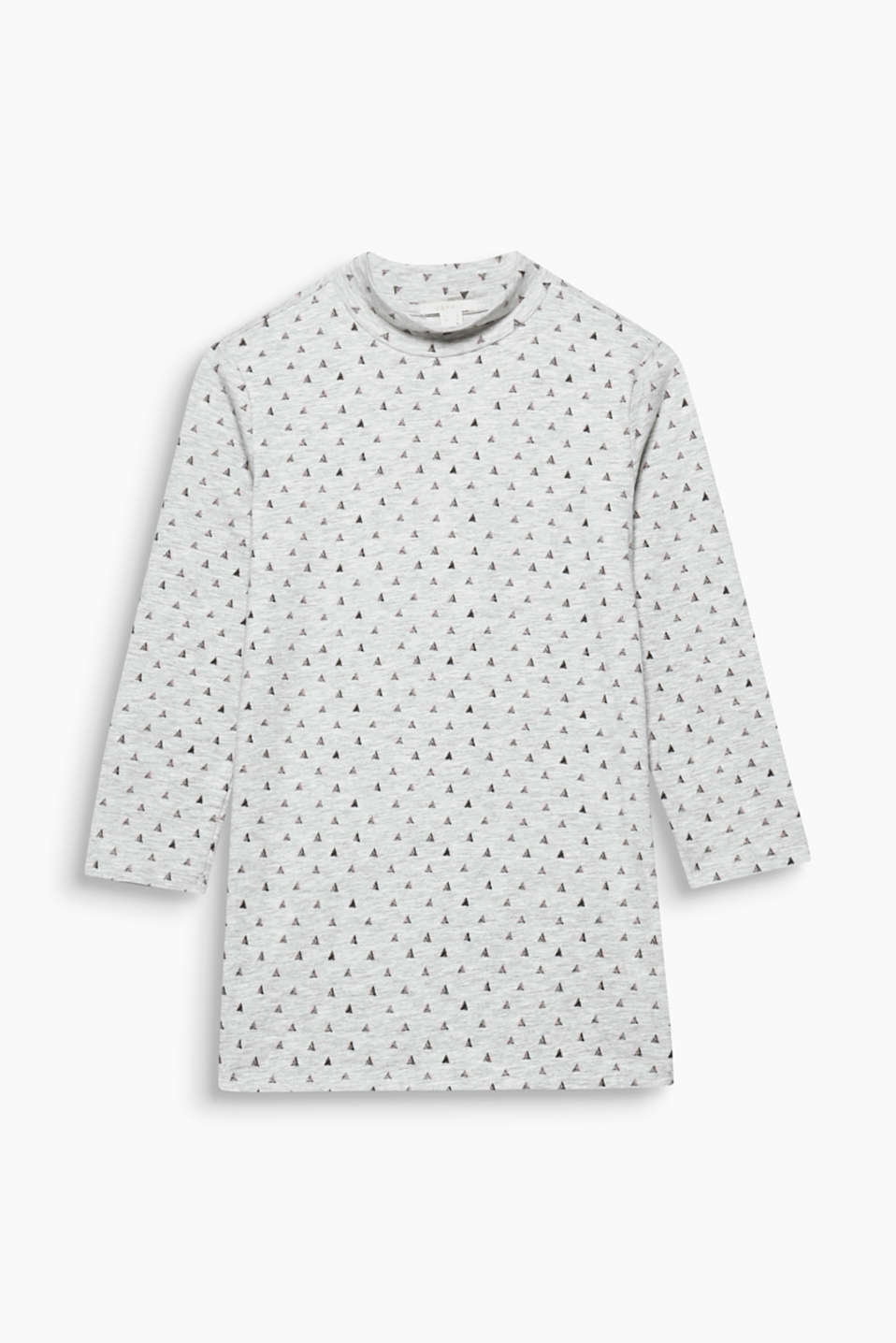 This soft melange top with a turtleneck and an all-over print works well on its own or under other garments.