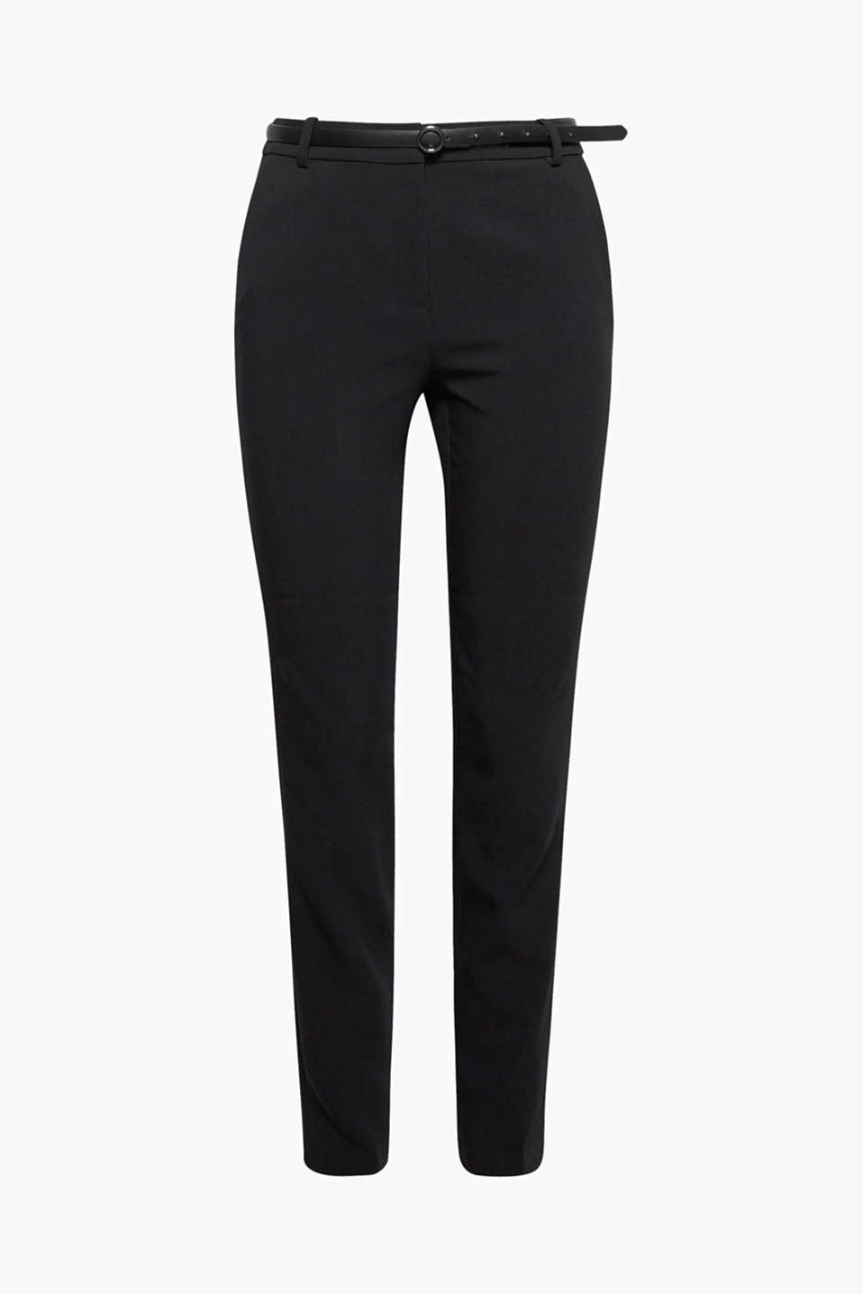 Comfy business style: These slim-fitting, woven trousers are stretchy in two directions, making them super comfy!