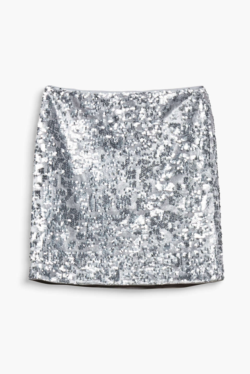 This mini skirt in soft velvet with a shimmering sequin trim is extravagant and sexy!