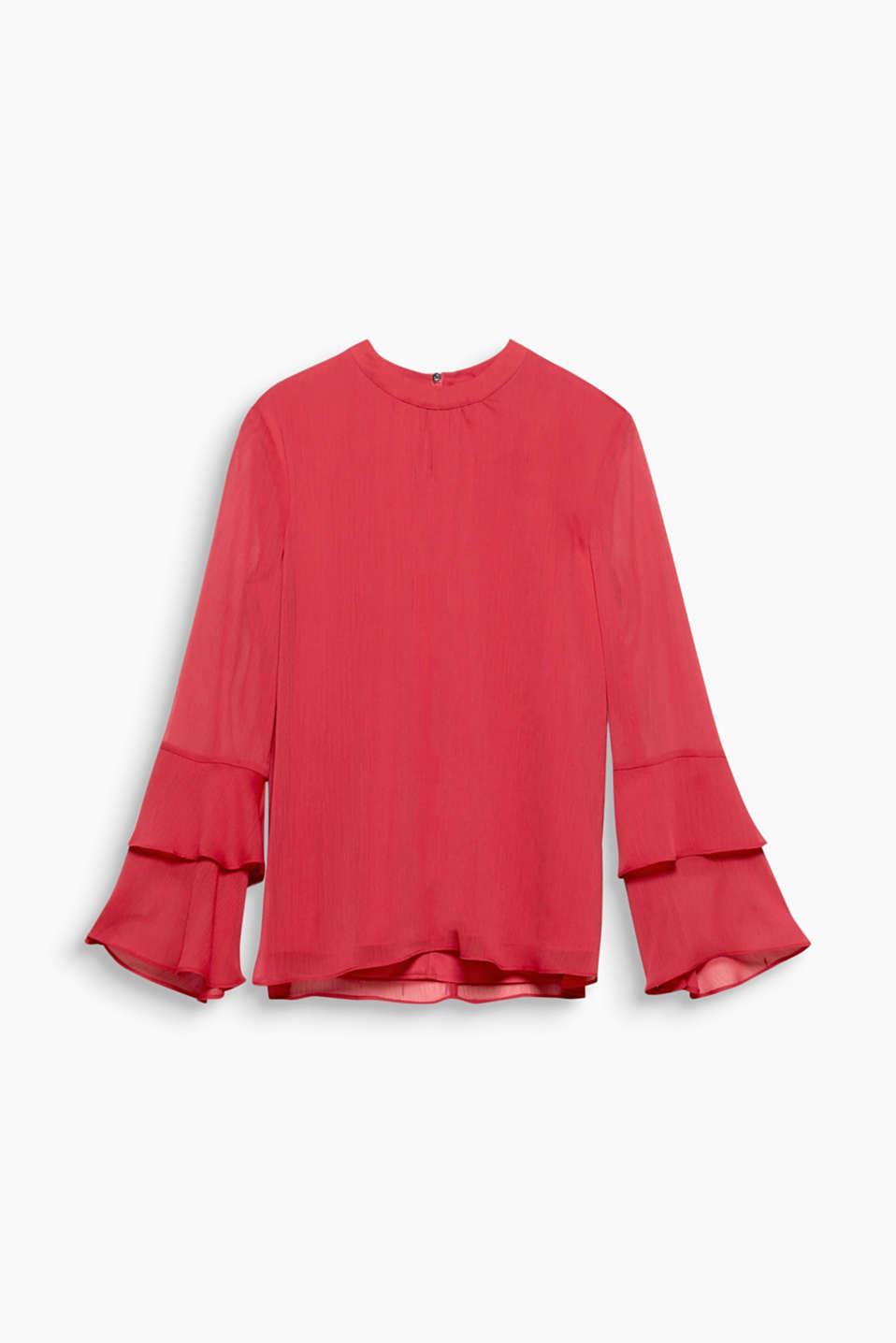 Tolle Farbe, zarter Crinkle-Chiffon, verspielte Volantärmel: Diese Bluse bietet einfach alles, was dein Herz begehrt!