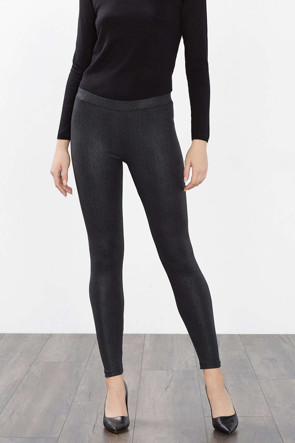 Au look serpent : Leggings à motif brillant-mat