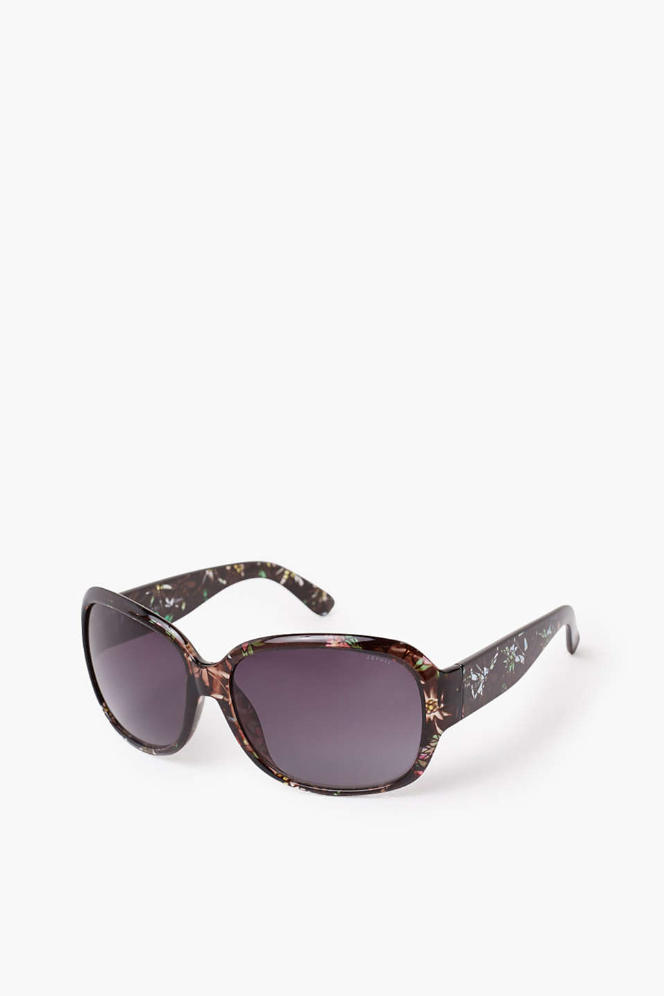Elegant and pretty: plastic sunglasses with a floral pattern on the temples and graduated colour lenses