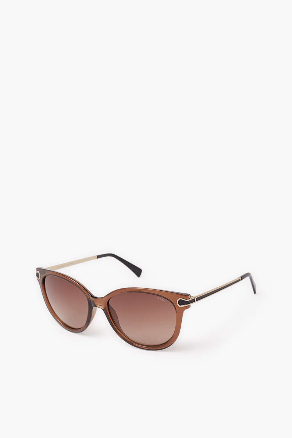 Sunglasses in a subtle cat-eye shape, with metal temples in a modern shape
