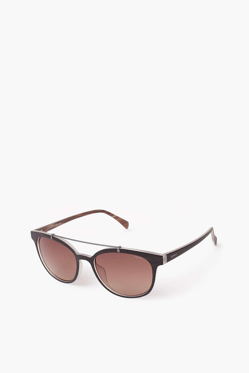 Plastic wood-effect sunglasses with a metal detail