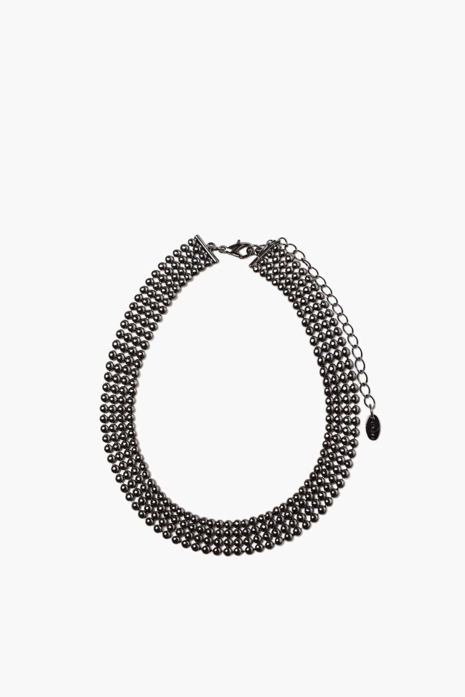This choker made of metal beads with an adjustable carabiner clasp can be elegant or part of a punk look!