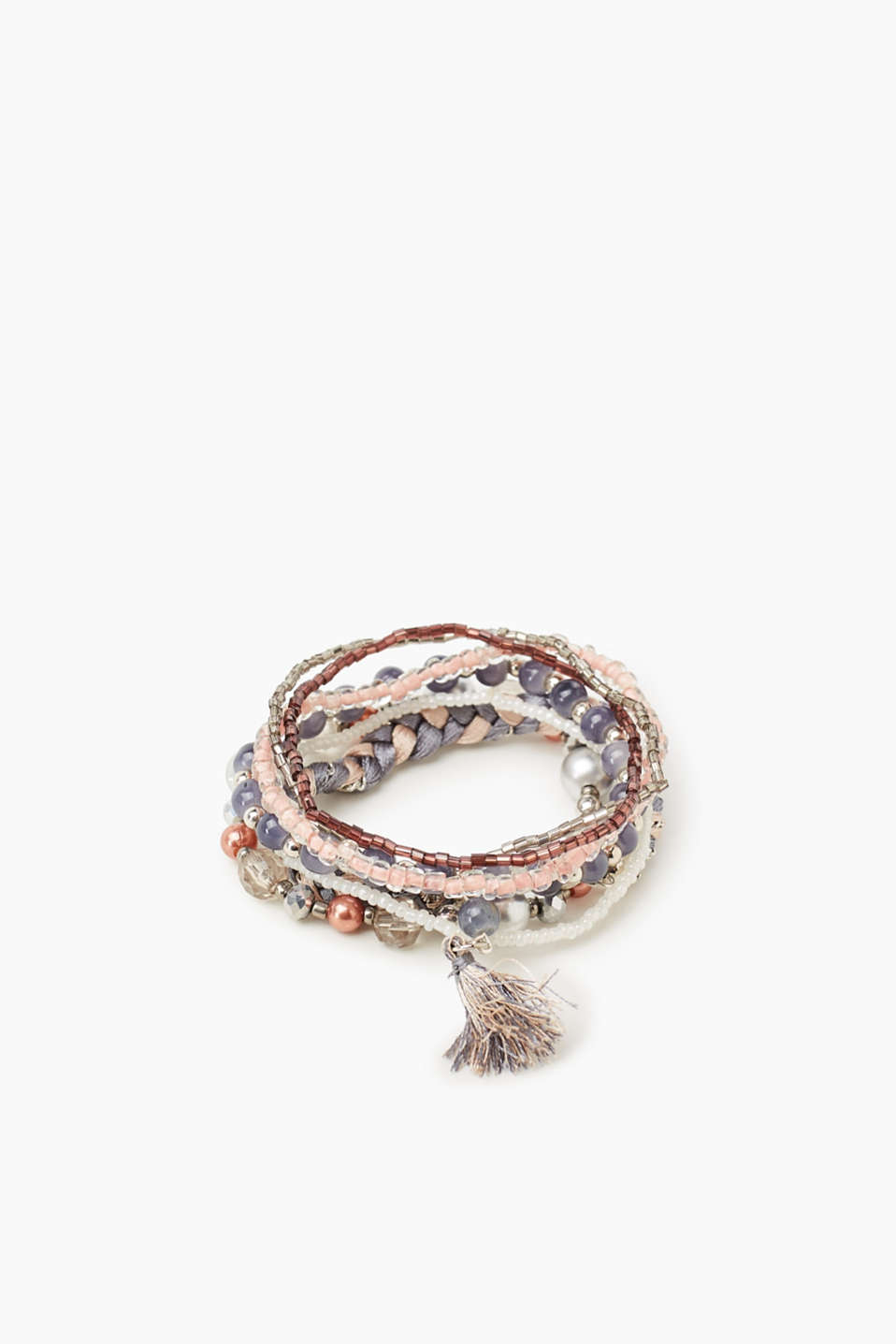 In a combination of beads and fabric, this set of seven bracelets comes in coordinating colours.