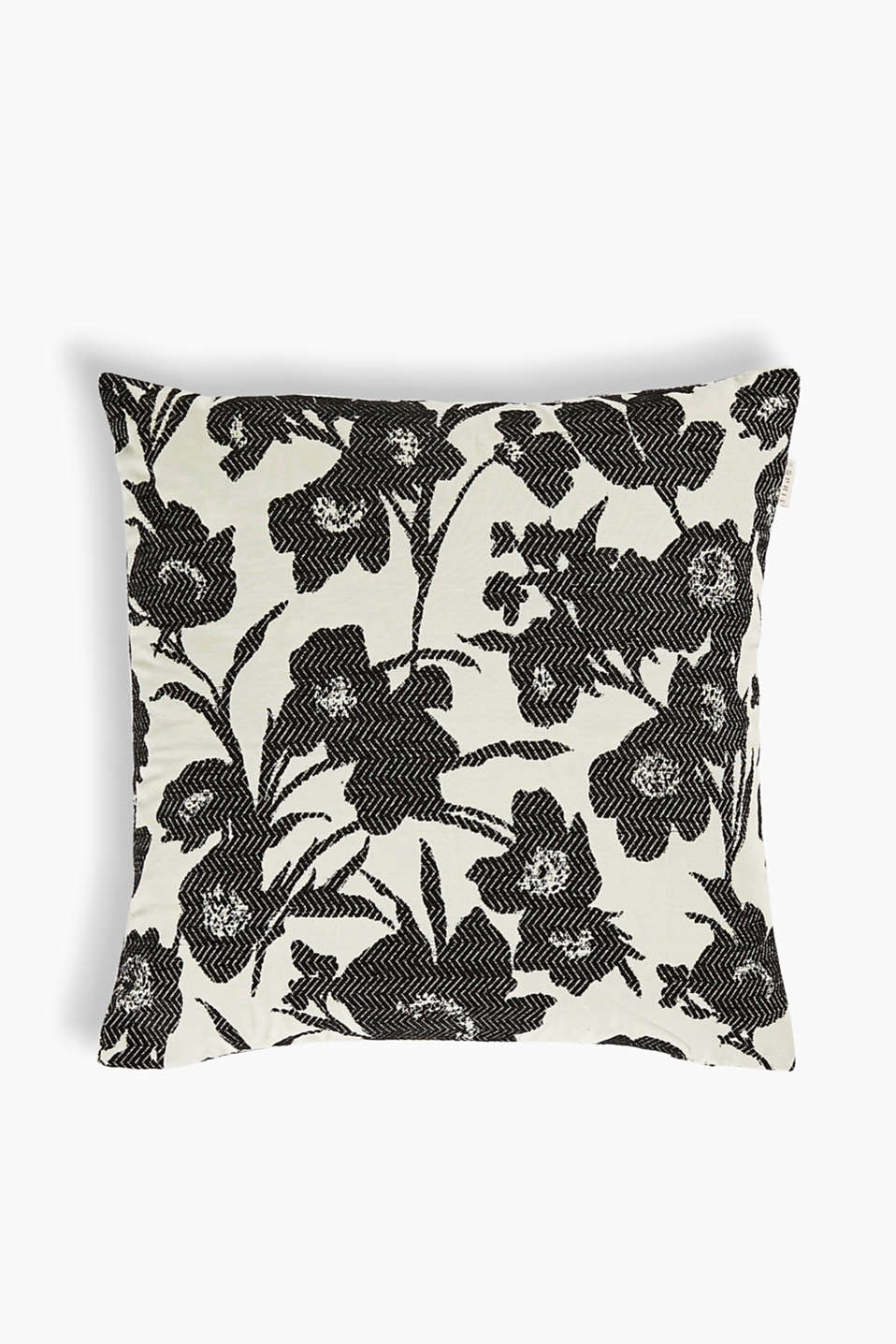 Cushion cover with a classic floral pattern, made of textured fabric