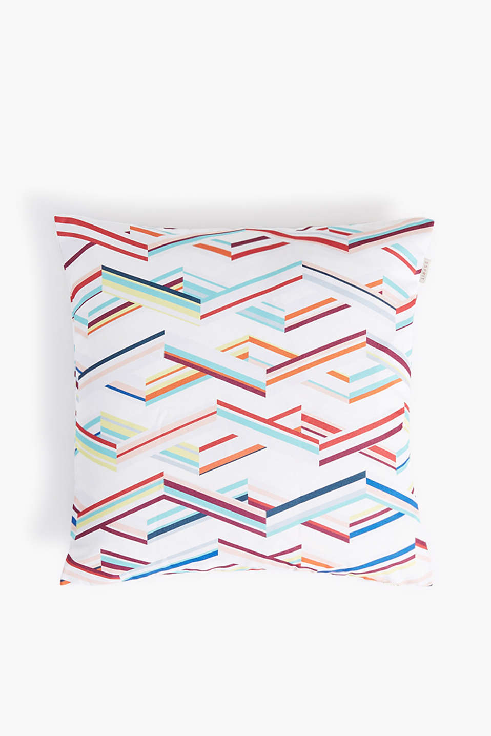 Cushion cover with a colourful zigzag pattern in a square format