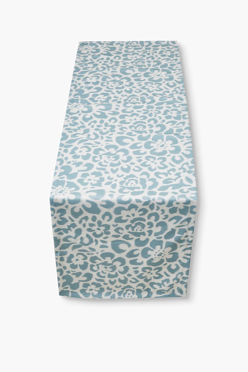 Table runner with a modern floral pattern and mitred corners, made of textured fabric