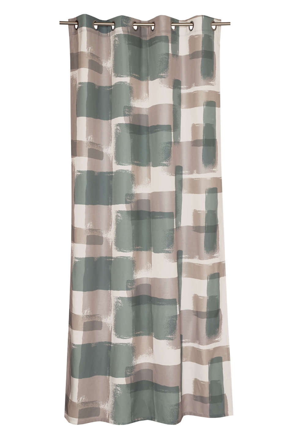 This slightly sheer eyelet curtain stands out thanks to its modern graphic print