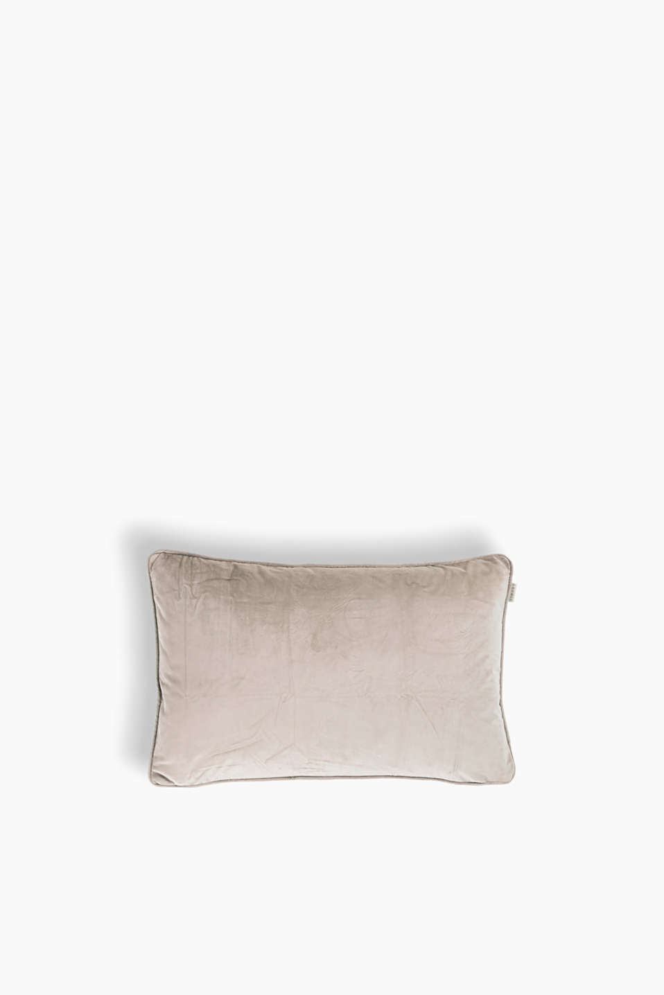 Plain coloured cushion cover with tonal piping and rounded corners, made of micro velvet