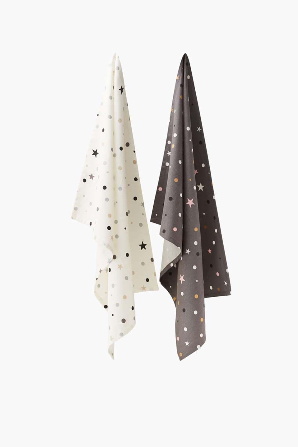 Polka-dots and stars, some finished in a metallic look, mean this two pack of tea towels are sure to turn heads.